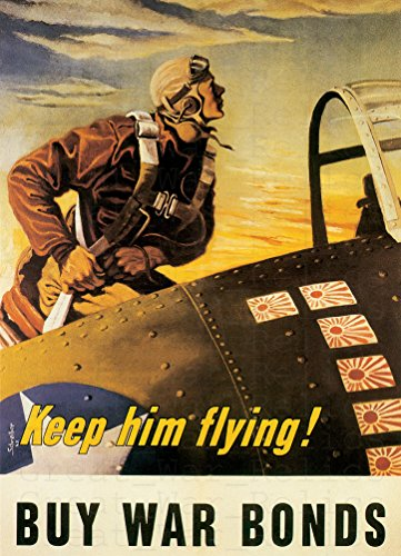 UpCrafts Studio Design WWII Aviator Propaganda Poster, Size 11.7x16.5 inches - Buy WAR Bonds - American WW2 Propaganda Poster