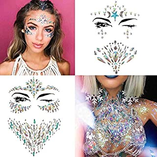 COKOHAPPY 4 Sets Rhinestone Mermaid Face & Breast Jewels Tattoo - Star Body Stickers Crystal Tears Gem Stones Bindi Temporary Stickers