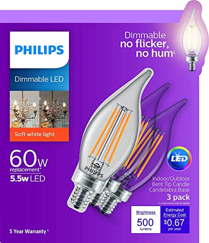 Philips LED Classic Glass Dimmable BA11 Bent Tip Light Bulb: 500-Luman, 2700-Kelvin, 5.5-Watt (60-Watt Equivalent), E12 Base, Clear, Soft White, 12-Pack