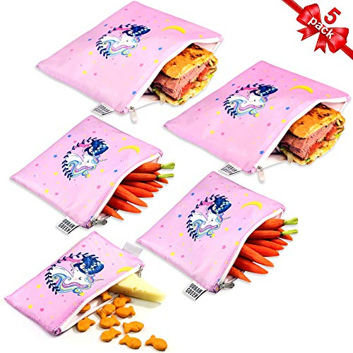 Reusable Sandwich Bags Snack Bags by Urban Green, Lunch Bags for Kids, 5 pack, Food Storage Bags, Toiletry Makeup Bags, Food Wraps, Cable Travel Organizer, Accessory Bags (Pink Girl & Unicorn)