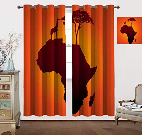 Cortinas de decoración africana, mapa de safari con silueta de árbol y jirafa continente Savannah Wild Design para ventana de dormitorio, 96 pulgadas de ancho x 90 pulgadas de largo, naranja marrón
