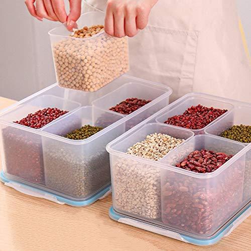 YAANGSI Contenedores de plástico para Almacenamiento, Cajas de Almacenamiento para Alimentos, Cajas de Almacenamiento para frigoríficos Que manipulan contenedores de Cocina con Tapa (4 Piezas)