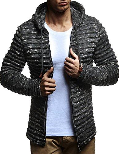 Leif Nelson Herren Pullover Hoodie Strickjacke Kapuzenpullover Jacke Hoody Sweatjacke Zipper Sweatshirt Longsleeve LN20724; Größe XL, Anthrazit