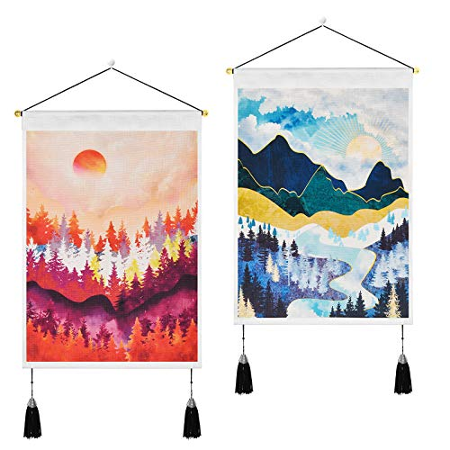 Pack of 2 Mountain Tapestry Forest Trees Tapestries Sunset Tapestry Nature Landscape Art Tapestry Wall Hanging for Room (13.8 x 19.7 inches)