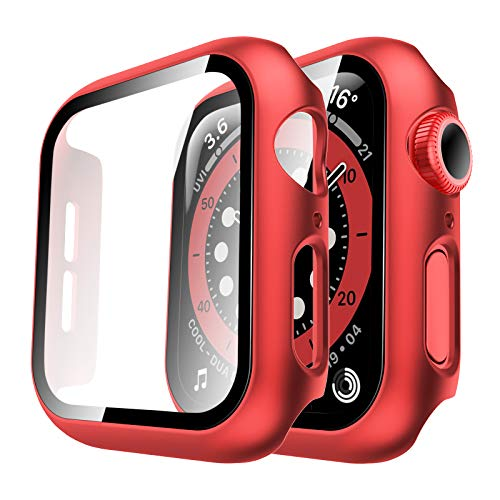 Tauri 2 Pack Hard Case for Apple Watch SE Series 6/5/4 44mm Built in 9H Tempered Glass Screen Protector, Slim Bumper, Touch Sensitive, Full Protective Cover for iWatch 44mm - Red
