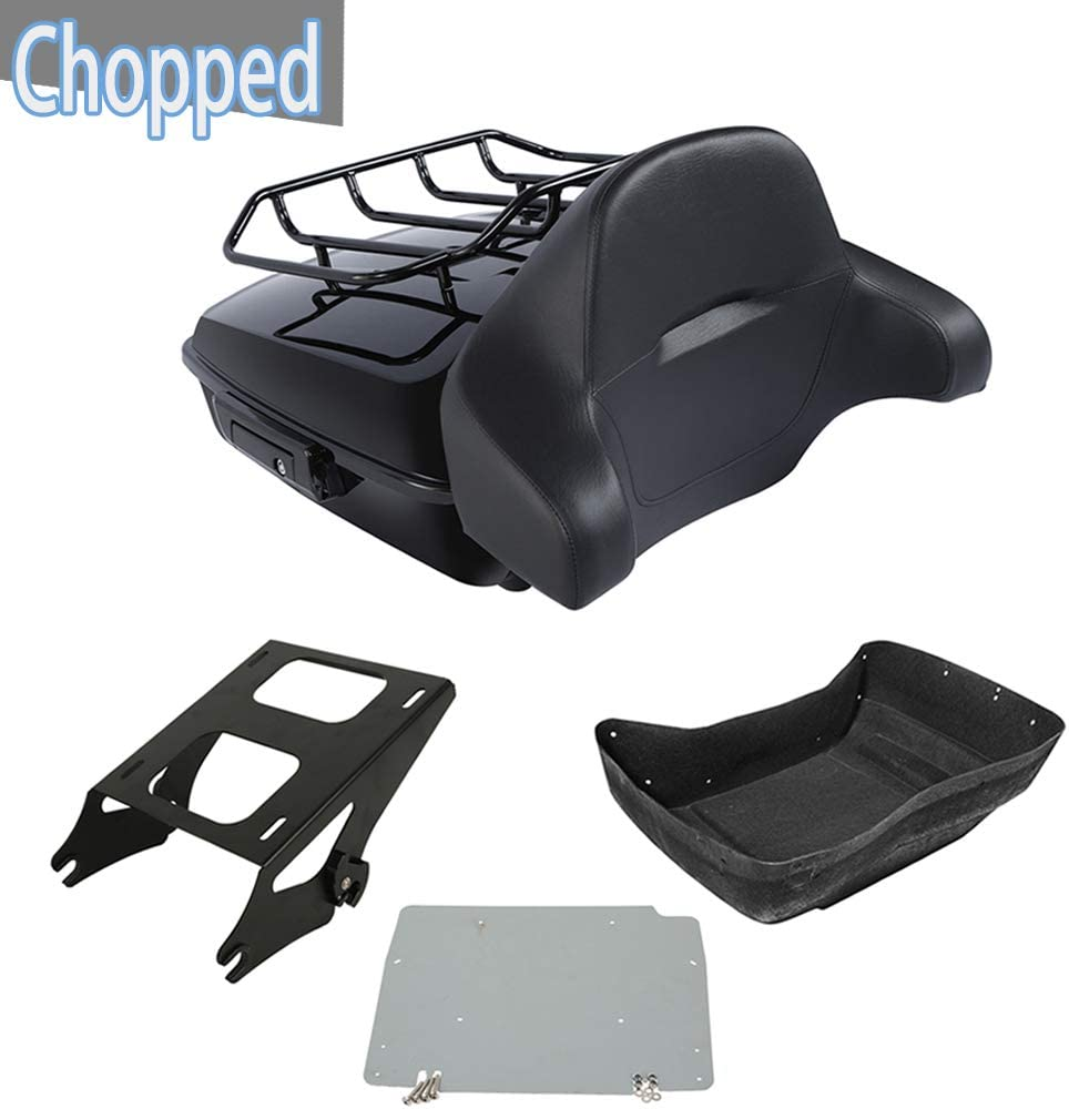 XMT-Moto Vivid Black 10.7'' Max 46% OFF Chopped National products Tour Pack Set Luggage w Rack