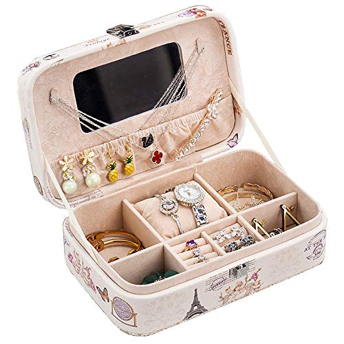 Jewelry Box,BREIS jewelry organizer lint Display Organizer Women Girls Holder for Earring Ring Necklace and Bracelet With Mirror (Eiffel tower)