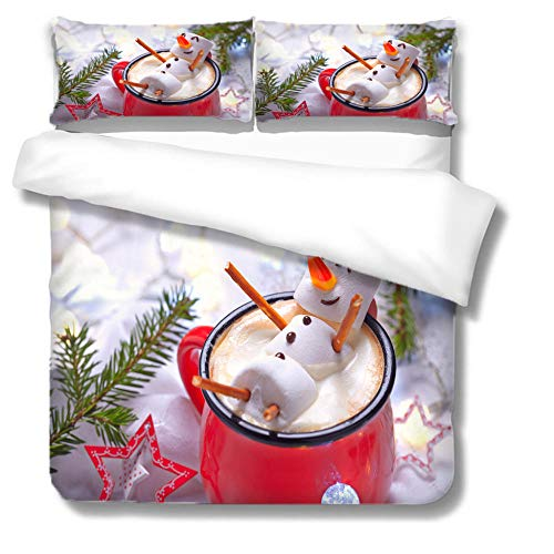 RYQRP Double Duvet Covers Set Snowman Coffee Bedding Set with Zipper Closure Microfiber, Bedding Quilt Cover 200x200cm with 2 Pillowcases for Children Kids Teens Adults