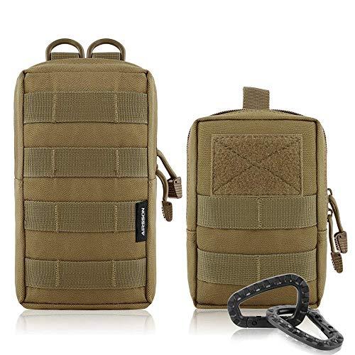 AIRSSON Molle Klein Tasche Taktische Gürtel Tasche Beutel Utility Pouch Wanderausrüstung (Tan-Molle Pouch+Waist Bag)
