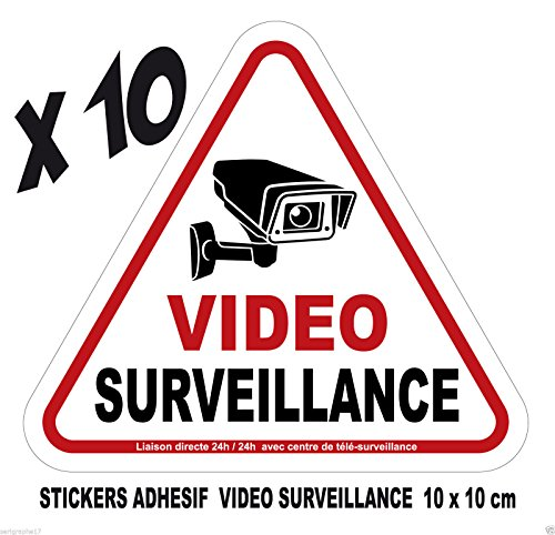 Camera Video Surveillance lot 10 Stickers adhesif 10x10cm Avertissement signalisation