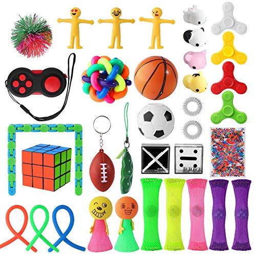 Defrsk 35 Stück Sensory Fidget Toys Kit Anti Stress Spielzeuge für Kinder, Teenager und Erwachsene Kleine Geschenke Einschließen Zauberwürfel, Stressball, Flippy Chain, Sojabohnen Stresstoys