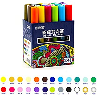 Acrylic Paint Markers Medium Tip Acrylic Pens Highlighter Permanent DIY Paint Bright 12/24 Assorted Colours for Art Designs (24 Colours)