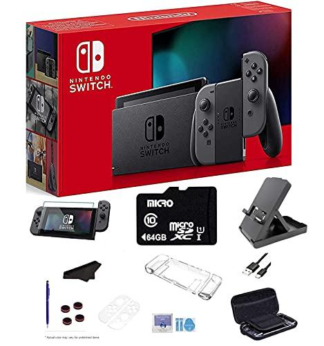 Newest Nintendo Switch 32GB Console, Gray Joy-Con, 6.2' Multi-Touch, WiFi, Bluetooth, HDMI, 64GB SD...
