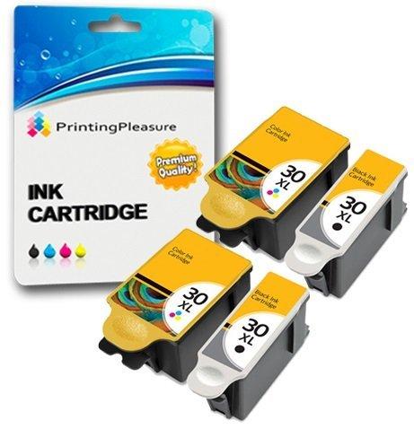 4 XL Tintenpatronen kompatibel zu Kodak 30XL (30B und 30CL) für Kodak Hero 2.2 3.1 4.2 5.1 ESP 1.2 3.2 3.2S C100 C110 C115 C300 C310 C315 C330 C360 Office 2100 2150 2170 - Schwarz/Color, hohe Kapazität