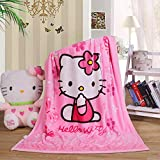 Cartoon Throw Blanket Hello Kitty Adults & Baby Cozy Plush Fleece Coral Velvet Fuzzy Blanket for Bedroom Bed,Couch Chair,Living Room,Air Conditioning Cool Blankets 40'X55' (Kitty-Pink)