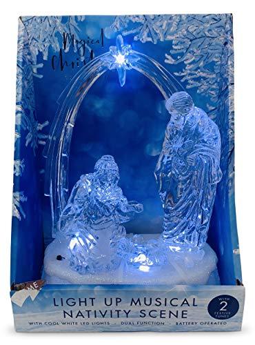 Aminori Christmas Light up Musical Acrylic Glitter Nativity Scene 19cm