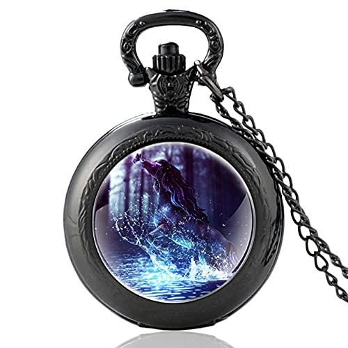 Diseño Clásico De Caballo Al Galope Reloj De Bolsillo De Cuarzo Vintage Reloj Colgante Reloj Hombres Mujeres Collar De Cúpula De Vidrio Único Los Mejores Longitud De Cadena Aproximadamente 80 Cm