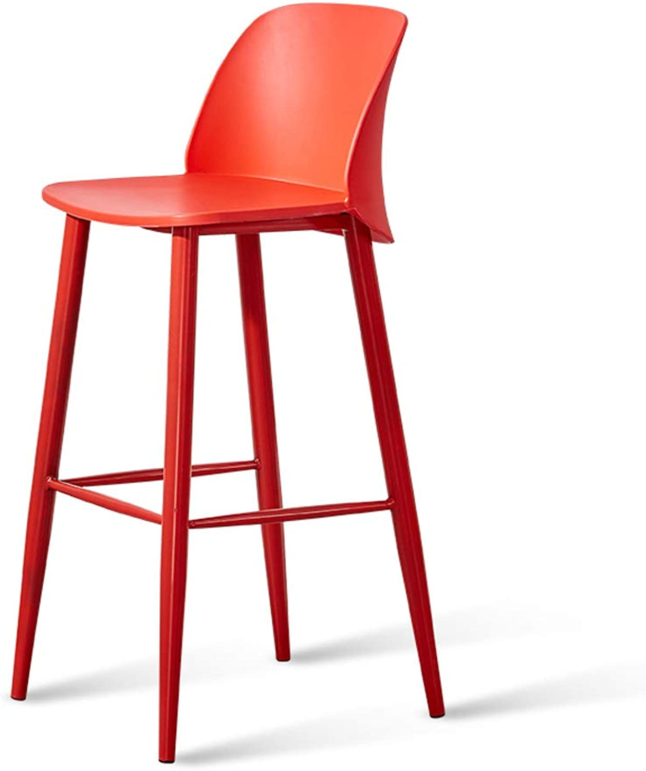 GY Bar Stool, Simple Bar Chair, with Backrest PP Plastic Chair Leisure Pole Stool, Counter Height Breakfast High Stool, Multi color Optional, 74cm (color   RED)