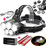 250000lm 5x T6 Adjustable Led Headlamp Extreme Bright Headlight Safety Light, Waterproof, Portable Light W/rechargeable Batteries For Camping, Fishing, Hiking, Night Flying, Sailing, Caving, Hunting