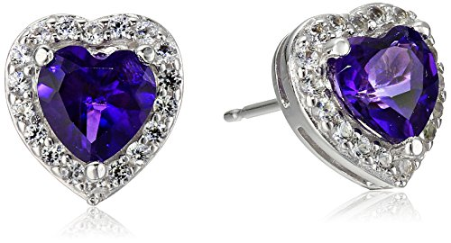Sterling Silver Genuine African Amethyst and Created White Sapphire Halo Heart Stud Earrings