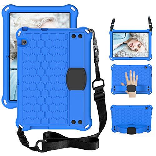 WHWOLF Funda para Huawei Mediapad T3 10 (9.6 pulgadas) Kids Case Tablet con soporte, correa para el hombro, correa de mano a prueba de golpes ligero EVA cubierta de peso ligero -Bblack