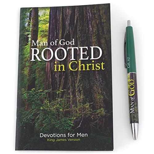 Christian Tools Affirmation Gift Set-Man of God Devotion Book & Pen (Colossians 2:6-7 KJV) (Dec)