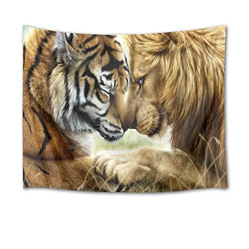 Tapeçaria de tigre e leão da HVEST para pendurar na parede, tapeçarias de animais selvagens, para quarto, sala de estar, dormitório, decoração de parede, 237 cm de largura x 188 cm de altura