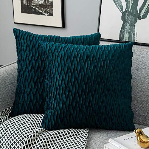 Yamonic Housses Coussin en Velours 50x50cm pour Salon Canapé,Lot de 2 Housses Coussin Carrés de Motif uni Décoration Chambre, Bleu Vert