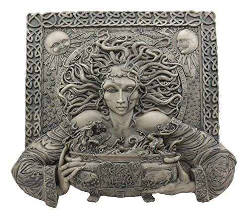 Ebros Celtic Goddess of Rebirth Cerridwen with Magical Potions Cauldron Wall Decor Hanging Sculptural Plaque