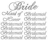 Lot of 12 Wedding Rhinestone Martini Iron on (1 Bride) (1 Maid of Honor) (10 Bridesmaid)