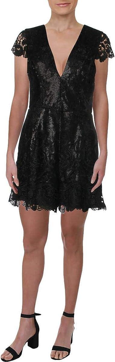 Dress the Population Women's Sabrina Sequin Lace Romper, Black/Black, L