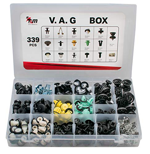 T&M Technics - Caja de 339 clips de fijación, grapas y remaches plásticos para coches V.A.G.