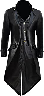 Kids Boys Girls Steampunk Tailcoat Jacket Gothic Victorian Leather Coat Cosplay Costume