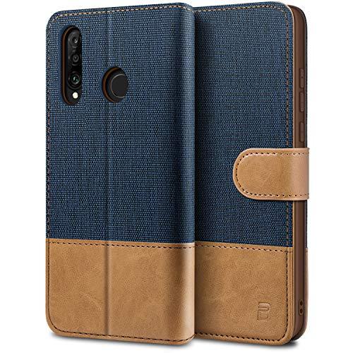 BEZ Handyhülle für Huawei P30 Lite Hülle, Tasche Kompatibel für Huawei P30 Lite, Schutzhüllen aus Klappetui mit Kreditkartenhaltern, Ständer, Magnetverschluss, Blaue Marine