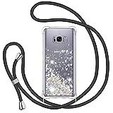 TUUT Funda Glitter Liquida con Cuerda para Samsung Galaxy S8 Plus, Glitter Cristal Suave Silicona TPU Bumper Protector Carcasa, Brillante Arena Movediza con Colgante Ajustable Cordón Case -Negro