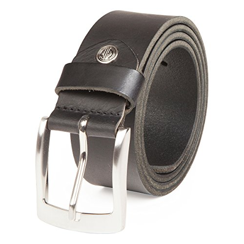 LINDENMANN Gürtel Herren Ledergürtel Herren/Gürtel Herren, Vollrindleder, Büffelleder 4 mm, schwarz, Größe/Size:130, Farbe/Color:schwarz