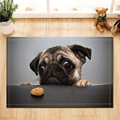 lovedomi Rutschfeste Fußmatte, Tier-Serie, schwarzer Hintergrund, lustiger Mops mit Lebensmittel-Thema, Badezimmer, Bodeneingang, Innen-Fußmatte, Kinderbadezimmer, rutschfeste Matte, 40 x 60 cm