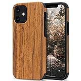 Tasikar Kompatibel mit iPhone 12 Mini Hülle Holz Design Hybrid Handyhülle Weiche Schutzhülle (Redwood)