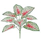 Filiale dell'impianto artificiale Decorazione della pianta verde 9 teste ramo fogliare del taro artificiale per accessori plug-in della parete, piante artificiali