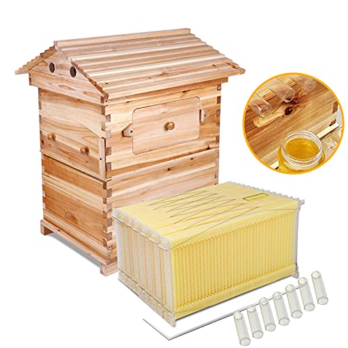 Auto Flow Beehive Wooden Bee Hive House Kit with 7pcs Upgraded Automatic...