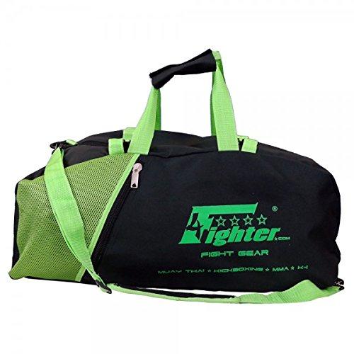 4Fighter Mesh Borsa da Palestra con Zaino Nero Verde Neon/Duffel Bag + Backpack