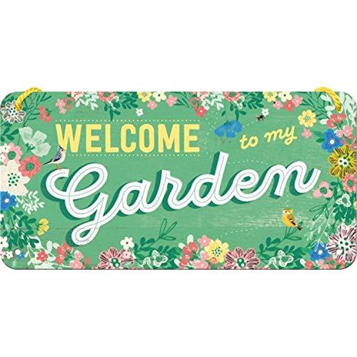 Nostalgic-Art Cartel Colgante Retro Home & Country – Garden – Idea de Regalo para el jardín, metálico, Diseño Vintage para decoración, 10 x 20 cm