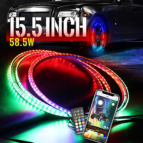 Viswiker 15.5inch Dancing Color LED Wheel Ring Light Kit w/Turn Signal and Braking Functionand Can Controlled by Remote and APP Simultaneously with Lock Function -Single Row