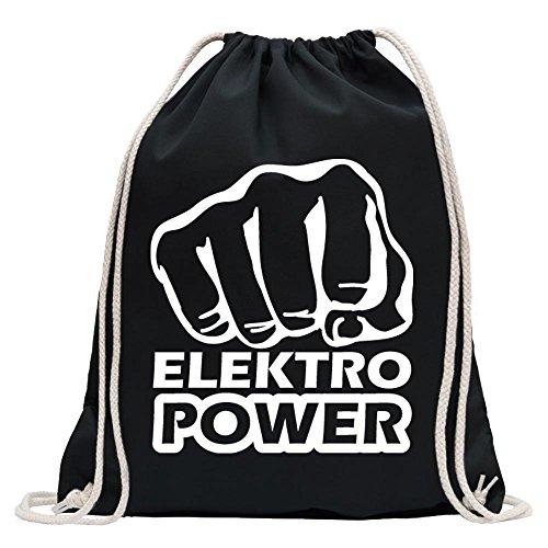 Kiwistar - Elektro Power Faust Schlag Turnbeutel Fun Rucksack Sport Beutel Gymsack Baumwolle mit Ziehgurt