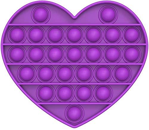 MAGIC SELECT Sensorial Fidget Juguete, Push Pop Bubble Sensory Toy, Juguete para Relajarse, Alivio del Estrés y la Ansiedad para Niños, Ancianos, Autismo (Morado corazón)