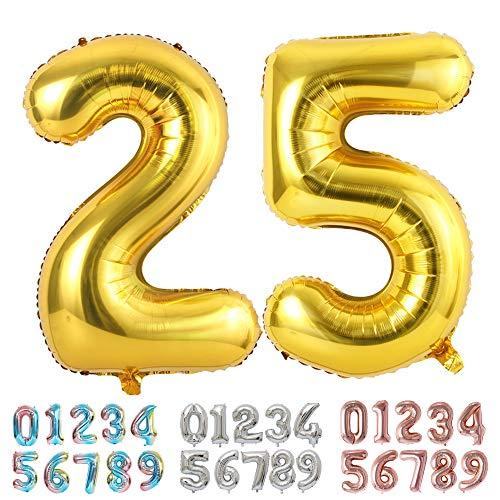 Ponmoo Foil Globo Número 25 52 Dorado, Gigante Numeros 0 1 2 3 4 5 6 7 8 9 10-19 20-29 30 40 50 60 70 80 90 100, Grande Globos para La Boda Aniversario, Globo de Cumpleaños Fiesta Decoración