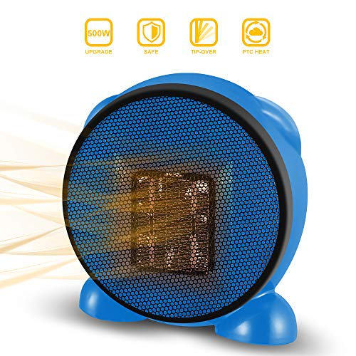 Space Heater, Fan Heater, 500W Personal Mini Space Heater Portable Electric Heaters Fan for Home and Office Indoor Use with Ceramic Heating Element & Overheat Protection (Blue)