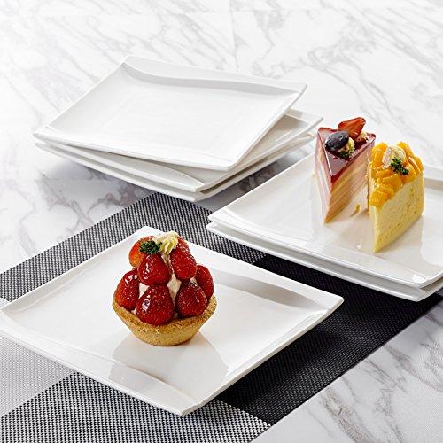 MALACASA, Serie Carina, 24 teilig Set Porzellan Kuchenteller Dessertteller Frühstücksteller Cremeweiß