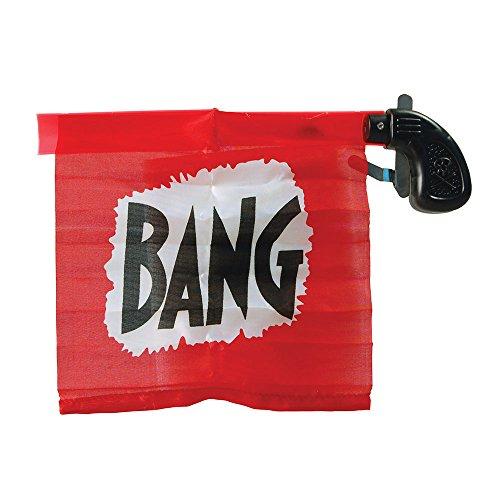 """Bristol Novelty - Set di accessori per feste, pistola con bandierina con scritta """"Bang"""", unisex, per adulti, rosso/nero, misura unica, GJ408"""