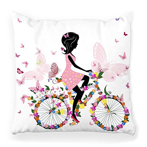 Fantastic Fairy Pillow Cover 20x20 Girl Bicycle Flower Young Bike Butterfly Cartoon Isolated Woman Spring Cyclist Exercise Lifestyle Retro